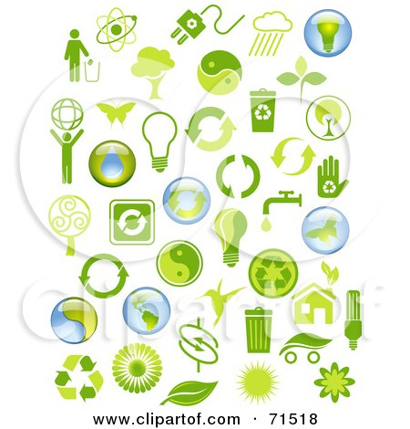 Royalty-Free (RF) Clipart Illustration of a Digital Collage Of Green And Blue Environmental Icons by Anja Kaiser