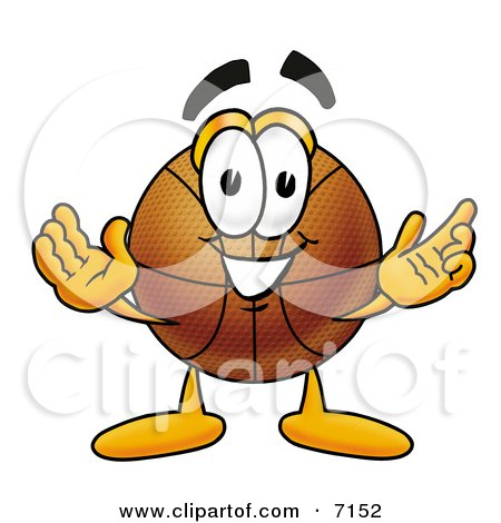 Clipart Picture Of A Basketball Mascot Cartoon Character With Welcoming Open Arms