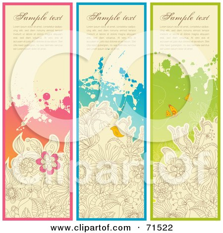 Royalty-Free (RF) Clipart Illustration of a Digital Collage Of Vertical Garden Website Headers by Anja Kaiser