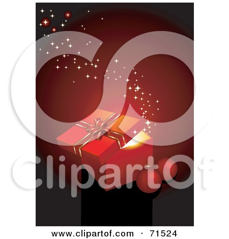 Royalty-Free (RF) Clipart Illustration of a Red Christmas Background With Sparkles, A Glowing Gift Box And Baubles by Anja Kaiser