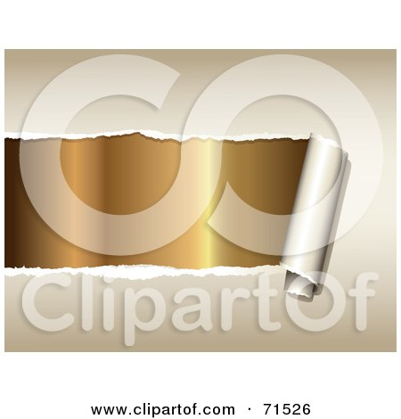 Royalty-Free (RF) Clipart Illustration of Gold Being Revealed Under Torn Beige Paper by Anja Kaiser