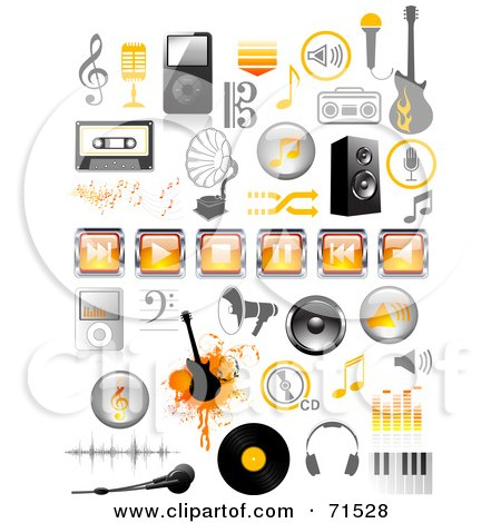 Royalty-Free (RF) Clipart Illustration of a Digital Collage Of Orange And Black Music Icons by Anja Kaiser