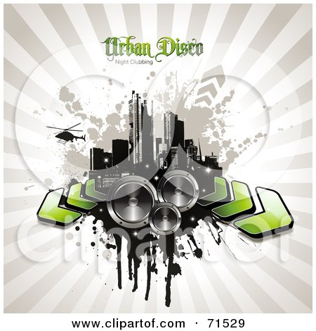 Royalty-Free (RF) Clipart Illustration of a Helicopter Over A Grungy City With Arrows And Speakers On A Beige Burst by Anja Kaiser