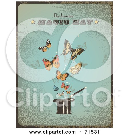 Royalty-Free (RF) Clipart Illustration of a Vintage Blue The Amazing Magic Hat Sign With Butterflies And A Hat by Anja Kaiser
