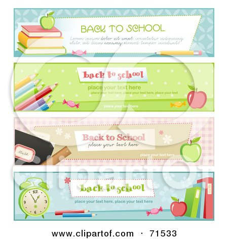 Royalty-Free (RF) Clipart Illustration of a Digital Collage Of Horizontal Back To School Website Headers by Anja Kaiser