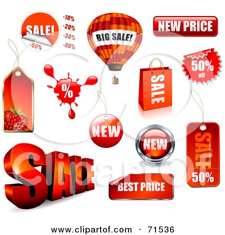 Digital Collage Of Red Retail Sale Icons With Unique Shapes Posters, Art Prints