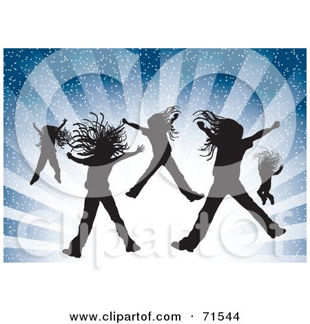 Royalty-Free (RF) Clipart Illustration of Silhouetted Girls Jumping Over A Bursting Blue Background  by MilsiArt