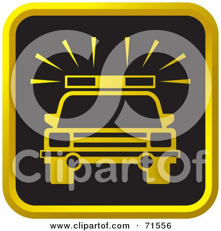 Royalty-Free (RF) Clipart Illustration of a Black And Golden Police Car Website Icon by Lal Perera