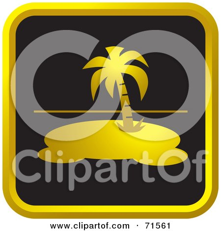 Royalty-Free (RF) Clipart Illustration of a Black And Golden Island Website Icon by Lal Perera