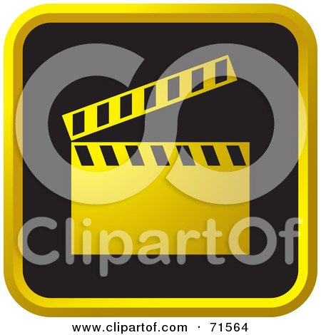 Royalty-Free (RF) Clipart Illustration of a Black And Golden Clapper Board Website Icon by Lal Perera