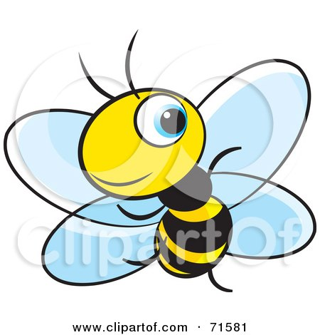 Royalty-Free (RF) Clipart Illustration of a Little Blue Eyed Bee - Version 4 by Lal Perera