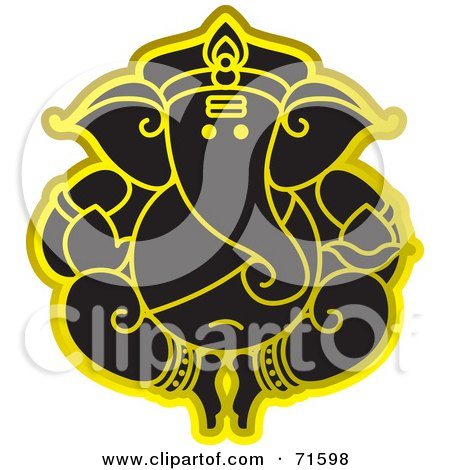 Royalty-Free (RF) Clipart Illustration of a Black Ganesha Elephant God With Gold Outlines by Lal Perera