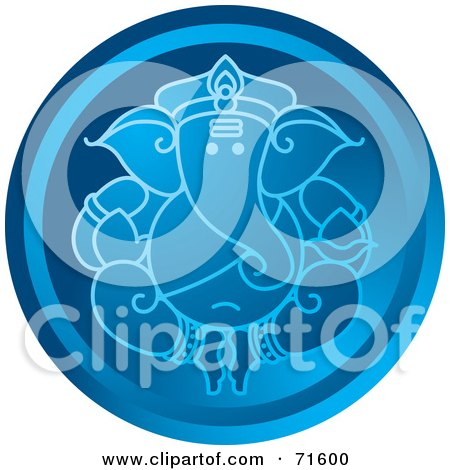 Royalty-Free (RF) Clipart Illustration of a Blue Circular Ganesha Icon by Lal Perera