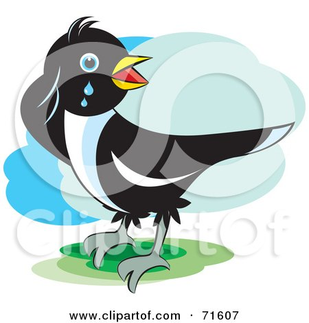 Royalty-Free (RF) Clipart Illustration of a Magpie Bird Crying by Lal Perera