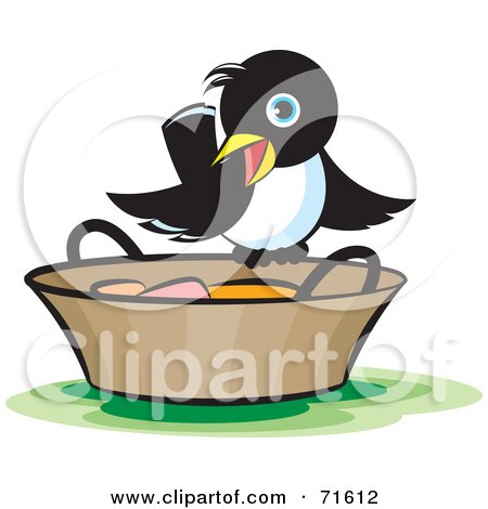 Royalty-Free (RF) Clipart Illustration of a Magpie Perched On A Bucket by Lal Perera