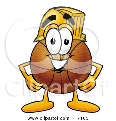 Clipart Picture of a Basketball Mascot Cartoon Character Wearing a Helmet by Toons4Biz