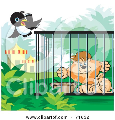 Royalty-Free (RF) Clipart Illustration of a Magpie Flying By A Male Lion In A Cage by Lal Perera