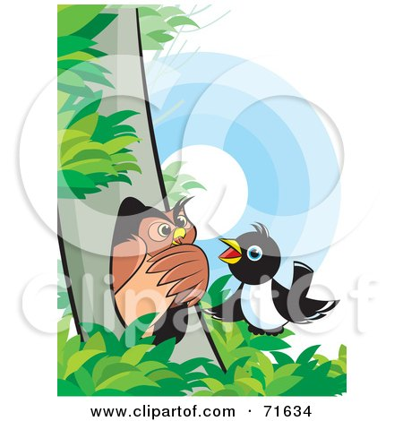 Royalty-Free (RF) Clipart Illustration of a Magpie Talking To An Owl In A Tree by Lal Perera