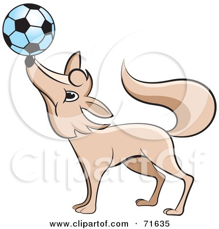 Royalty-Free (RF) Clipart Illustration of a Fox Balancing A Soccer Ball On His Nose by Lal Perera