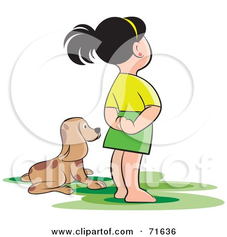 Royalty-Free (RF) Clipart Illustration of a Girl Standing Beside Her Puppy by Lal Perera