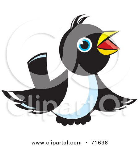 Royalty-Free (RF) Clipart Illustration of a Magpie Bird Hovering And Chirping by Lal Perera