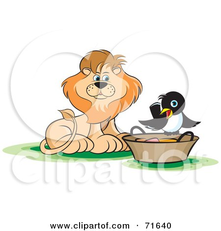 Royalty-Free (RF) Clipart Illustration of a Male Lion Watching A Magpie On A Basket by Lal Perera