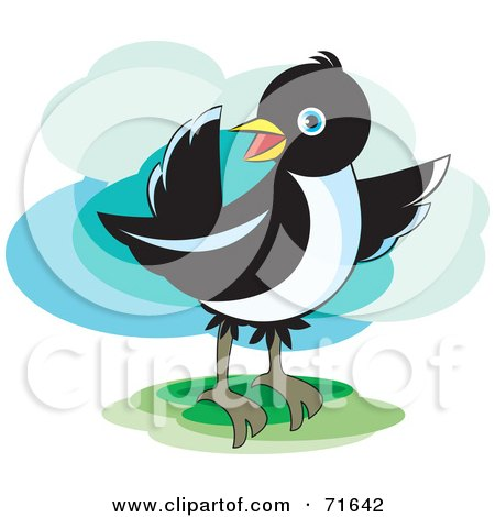 Royalty-Free (RF) Clipart Illustration of a Magpie Bird Pointing by Lal Perera