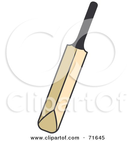 ... -Free (RF) Clipart Illustration of a Wood Cricket Bat by Lal Perera