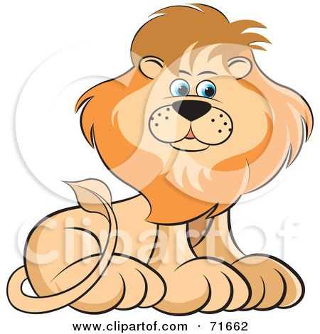 Royalty-Free (RF) Clipart Illustration of a Male Lion Sitting And Glancing To The Right by Lal Perera