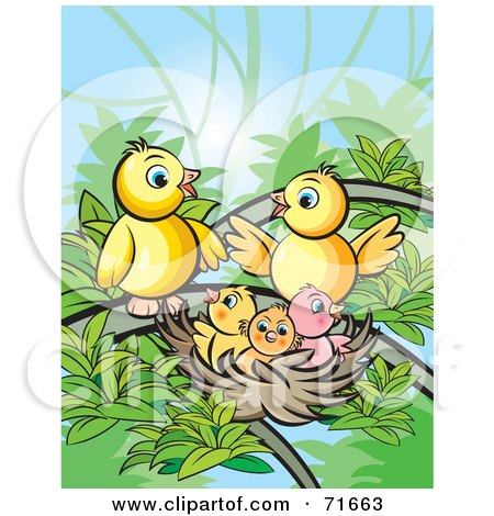 Royalty-Free (RF) Clipart Illustration of a Bird Family Gathered At A Nest by Lal Perera