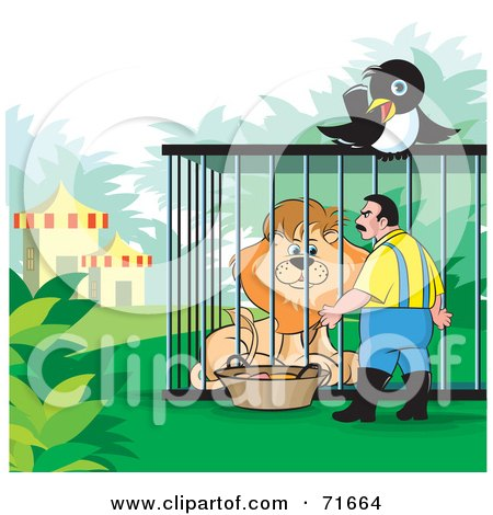 Royalty-Free (RF) Clipart Illustration of a Magpie Watching A Zoo Keeper Tend To A Lion by Lal Perera