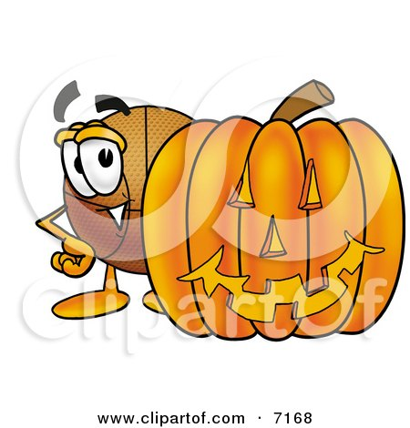 Clipart Picture of a Basketball Mascot Cartoon Character With a Carved Halloween Pumpkin by Toons4Biz