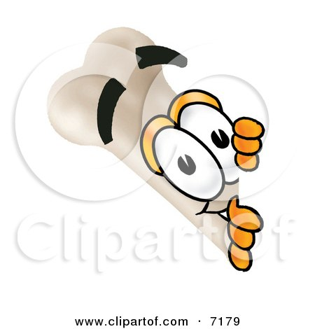 Clipart Picture of a Bone Mascot Cartoon Character Peeking Around a Corner by Toons4Biz