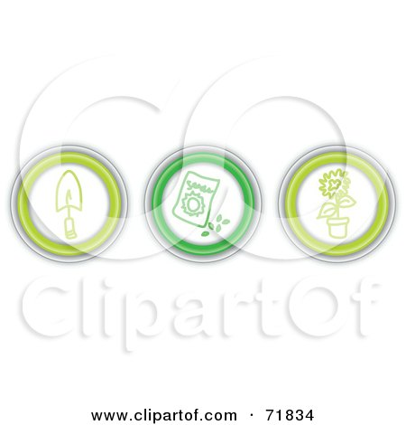 Royalty-Free (RF) Clipart Illustration of a Digital Collage Of Three Green Garden Icon Buttons by inkgraphics