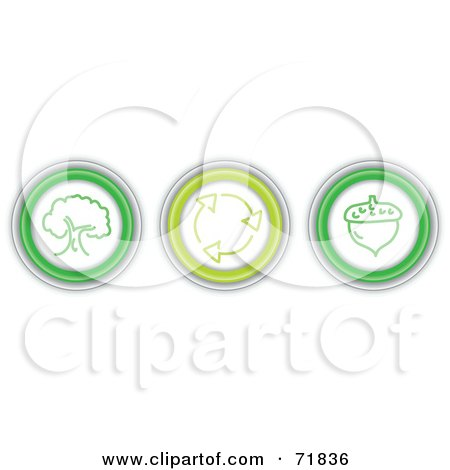 Royalty-Free (RF) Clipart Illustration of a Digital Collage Of Three Green Nature Icon Buttons by inkgraphics