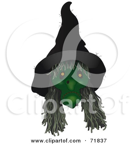 Royalty-Free (RF) Clipart Illustration of a Creepy Green Witch With Long Hair by inkgraphics