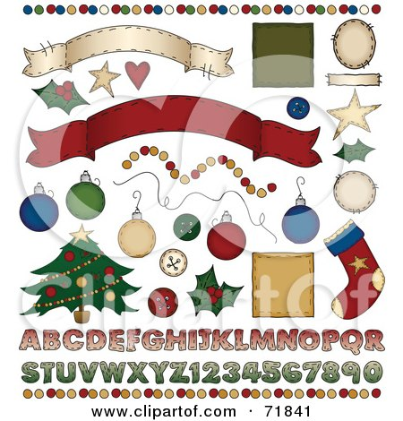 Royalty-Free (RF) Clipart Illustration of a Digital Collage Of Christmas Design Elements by inkgraphics