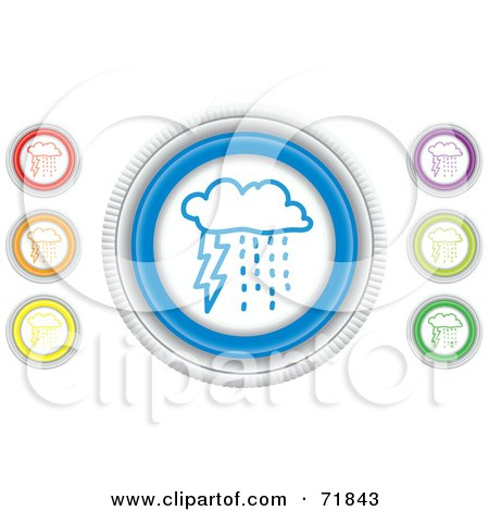 Royalty-Free (RF) Clipart Illustration of a Digital Collage Of Colorful Round Storm Website Buttons by inkgraphics