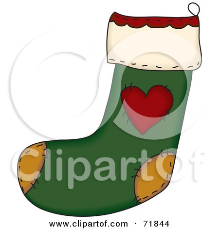 Royalty-Free (RF) Clipart Illustration of a Green Sewn Folk Christmas Stocking With A Heart by inkgraphics