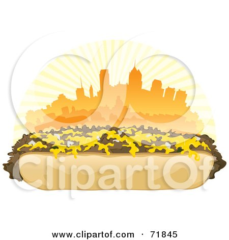 Royalty-Free (RF) Clipart Illustration of a Philly Cheesesteak Sandwich In Front Of An Orange Skyline by inkgraphics