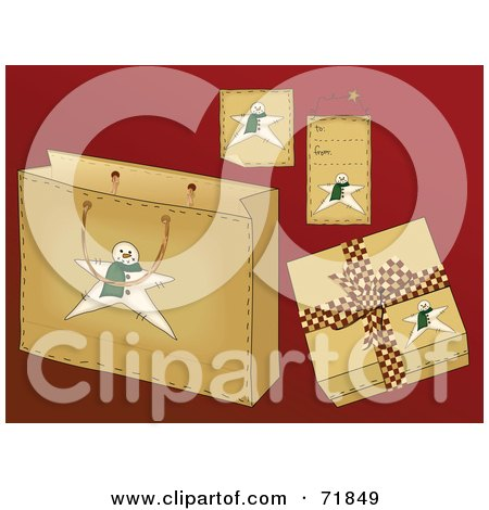 Royalty-Free (RF) Clipart Illustration of a Digital Collage Of Snowman Christmas Present Items On Red by inkgraphics