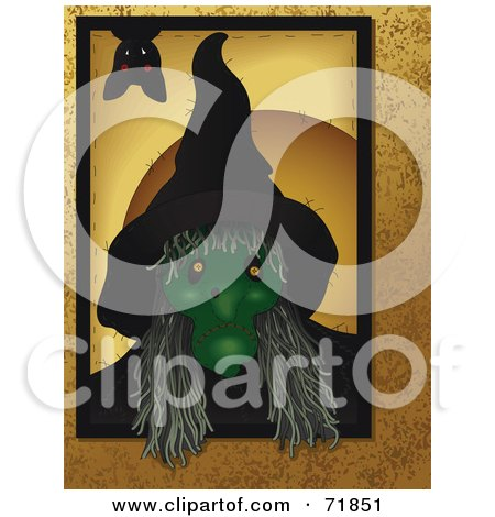 Royalty-Free (RF) Clipart Illustration of a  Bat Hanging Down Over A Creepy Green Witch With Long Hai by inkgraphics