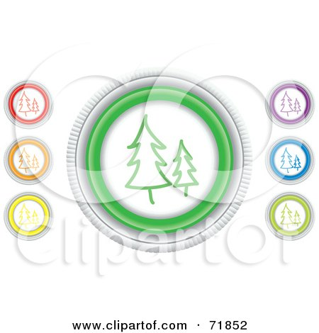 Royalty-Free (RF) Clipart Illustration of a Digital Collage Of Colorful Round Evergreen Website Buttons by inkgraphics