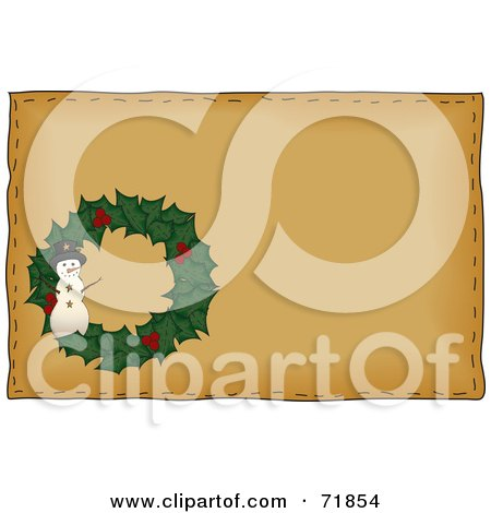 Royalty-Free (RF) Clipart Illustration of a Holly Snowman Christmas Wreath On Brown by inkgraphics
