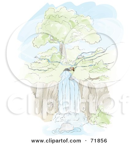 Royalty-Free (RF) Clipart Illustration of a Beaver By Its Dam In Front Of A River Waterfall by inkgraphics