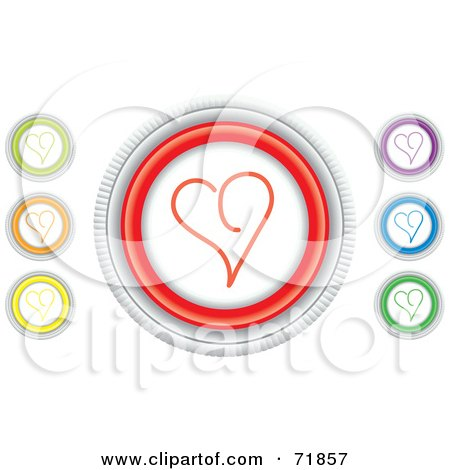 Royalty-Free (RF) Clipart Illustration of a Digital Collage Of Colorful Round Heart Website Buttons by inkgraphics