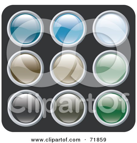 Royalty-Free (RF) Clipart Illustration of a Digital Collage Of Colorful Shiny Rounded Site Icon Buttons - Version 4 by inkgraphics
