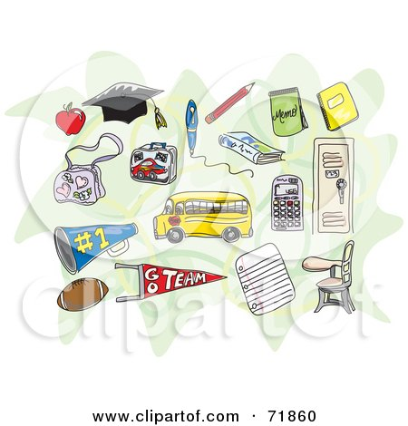 Royalty-Free (RF) Clipart Illustration of a Digital Collage Of School Items Over Green by inkgraphics