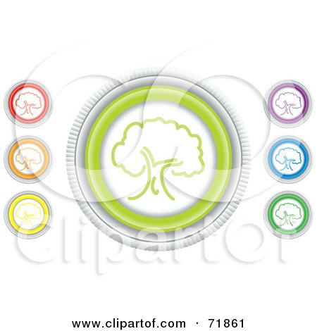 Royalty-Free (RF) Clipart Illustration of a Digital Collage Of Colorful Round Tree Website Buttons by inkgraphics
