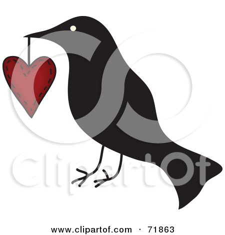 Royalty-Free (RF) Clipart Illustration of a Crow Carrying a Heart by inkgraphics